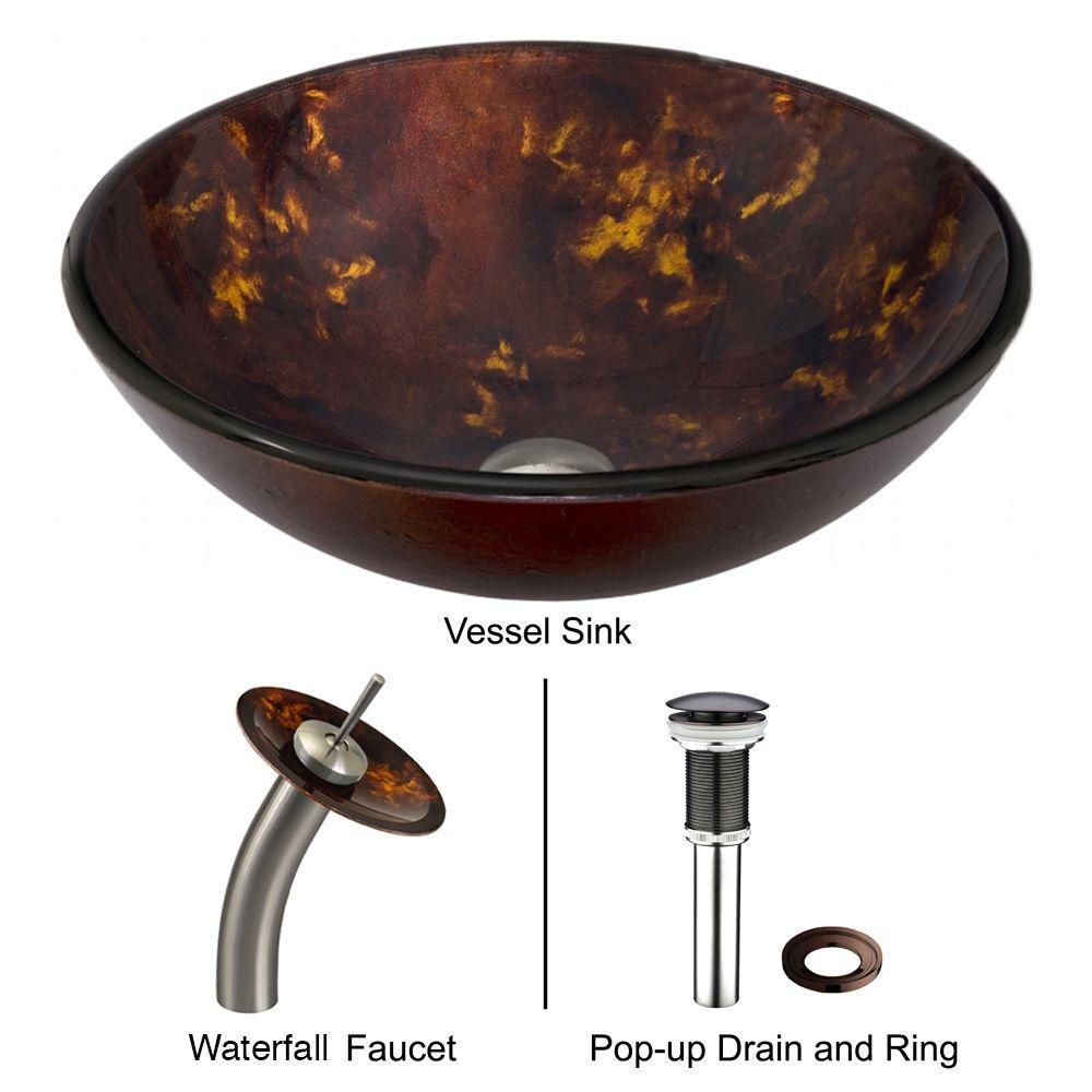Vigo Glass Vessel Sink in Brown and Gold Fusion with Waterfall Faucet in Brushed Nickel