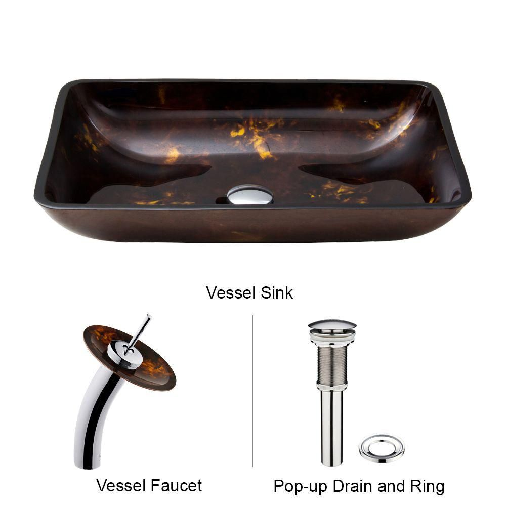 Glass Vessel Sink in Rectangular Brown and Gold Fusion with Waterfall Faucet in Chrome