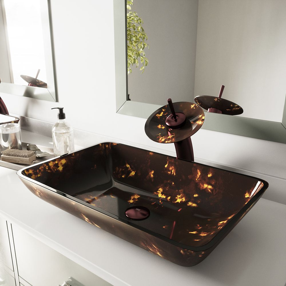 Glass Vessel Sink in Rectangular Brown and Gold Fusion with Waterfall Faucet in Oil-Rubbed Bronze