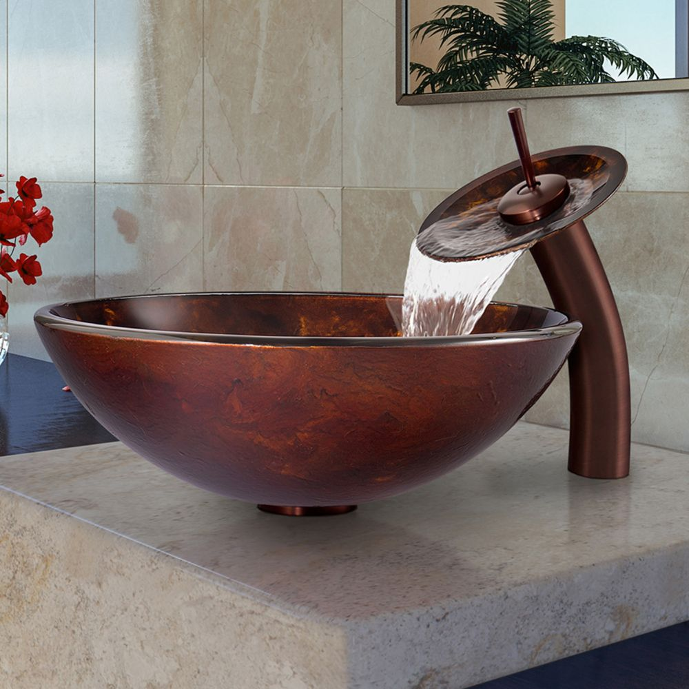 Brown and Gold Fusion Glass Vessel Sink and Waterfall Faucet Set in Oil Rubbed Bronze