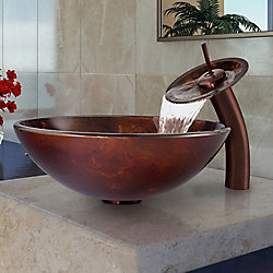 VIGO Glass Vessel Bathroom Sink in Brown and Gold Fusion with Waterfall Faucet Set in Oil Rubbed Bronze