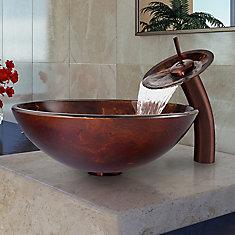 Ensemble de vasque de salle de bains en verre brun et doré Fusion de  et robinet