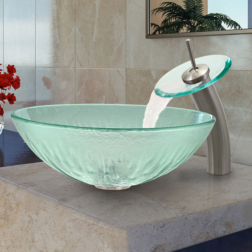 Glass Vessel Sink in Icicles with Waterfall Faucet in Brushed Nickel