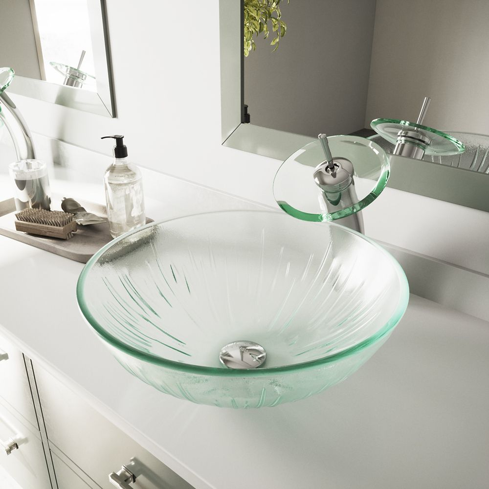 Glass Vessel Sink in Icicles with Waterfall Faucet in Chrome