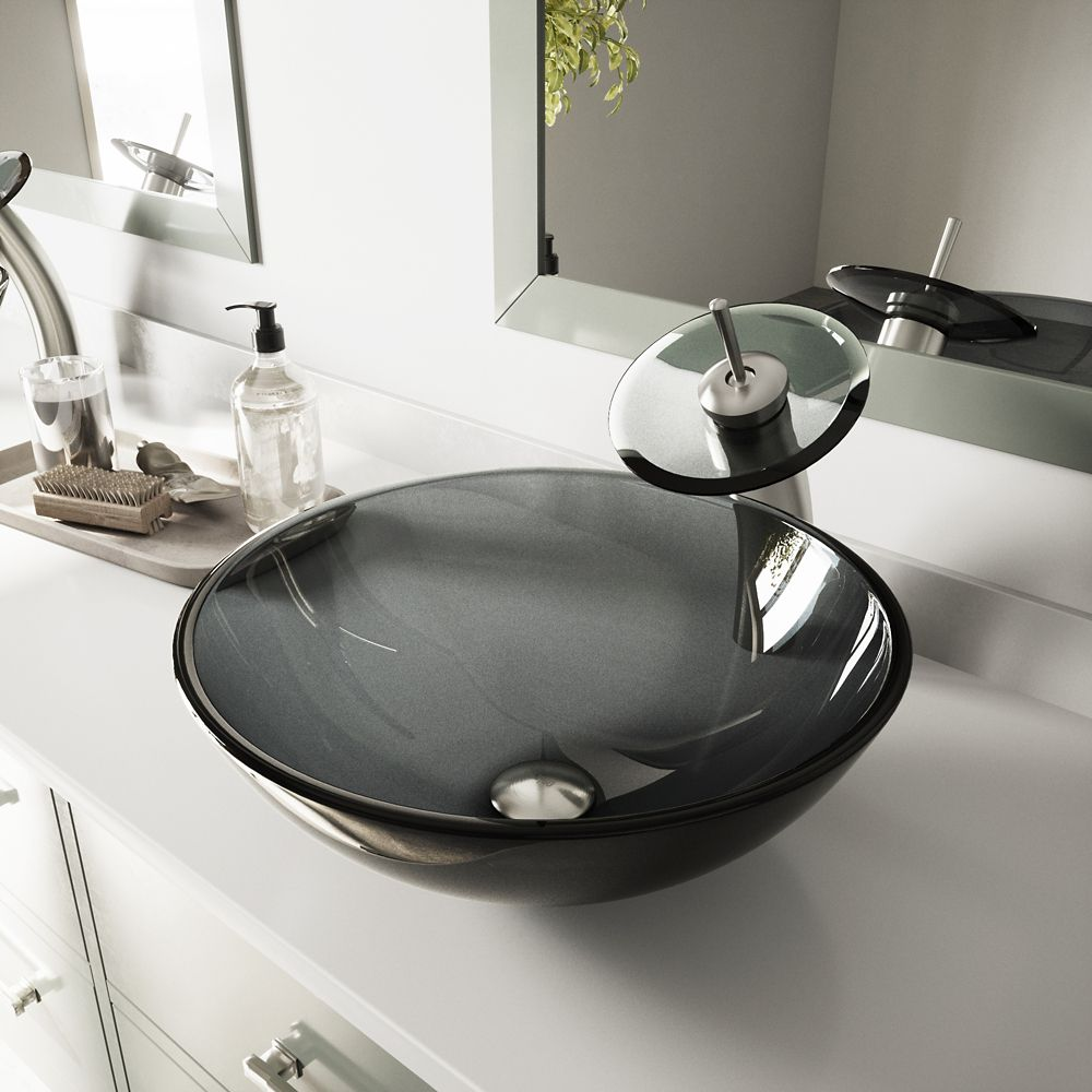 Glass Vessel Sink in Sheer Black with Waterfall Faucet in Brushed Nickel