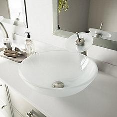 Ensemble de vasque de salle de bains en verre blanc Frost de  et robinet à effet de cascade