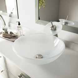 VIGO Glass Vessel Bathroom Sink in White Frost with Waterfall Faucet Set in Brushed Nickel