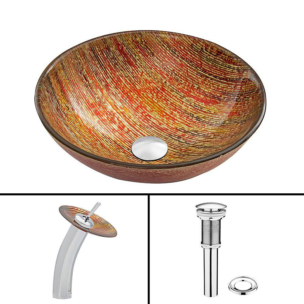 Glass Vessel Sink in Blazing Fire with Waterfall Faucet in Chrome