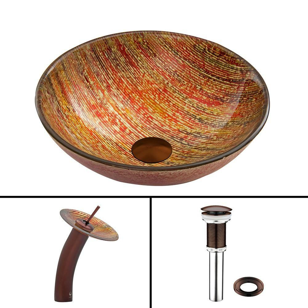 Glass Vessel Sink in Blazing Fire with Waterfall Faucet in Oil-Rubbed Bronze