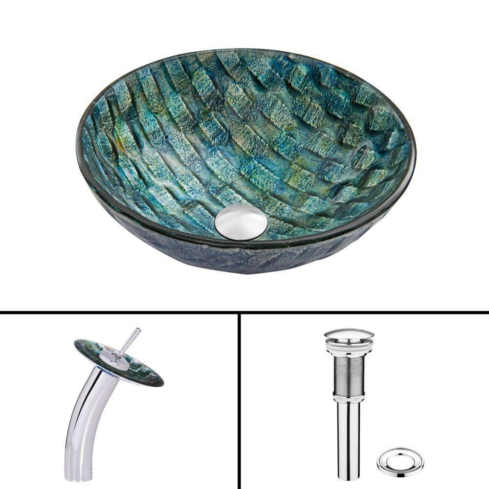 Ensemble lavabo en verre et robinet à cascade Oceania en chrome