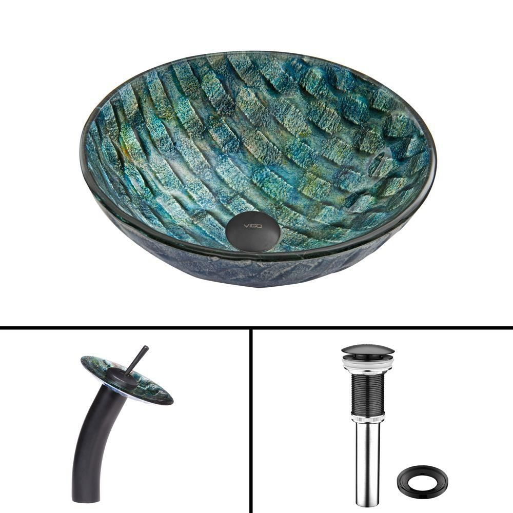 Glass Vessel Sink in Oceania with Waterfall Faucet in Matte Black