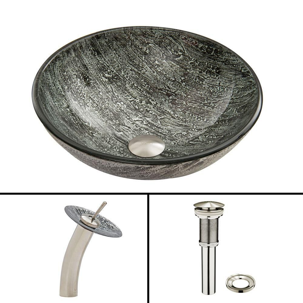 Brushed Nickel Titanium Glass Vessel Sink and Waterfall Faucet Set VGT039BNRND in Canada
