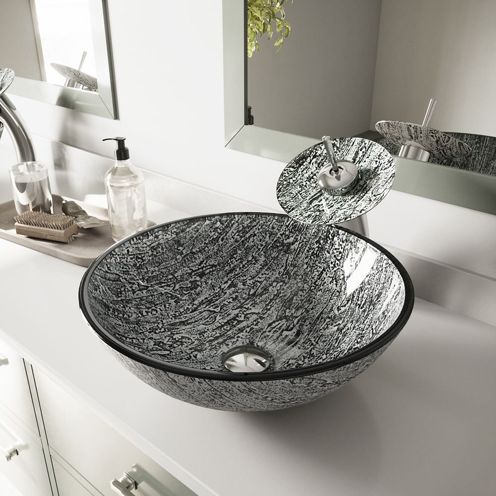 Glass Vessel Sink in Titanium with Waterfall Faucet in Chrome