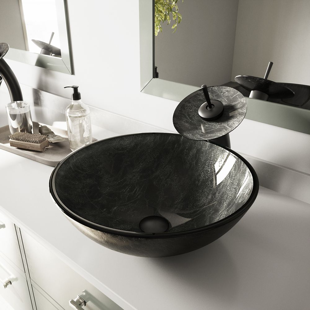 Glass Vessel Sink in Gray Onyx with Waterfall Faucet in Matte Black