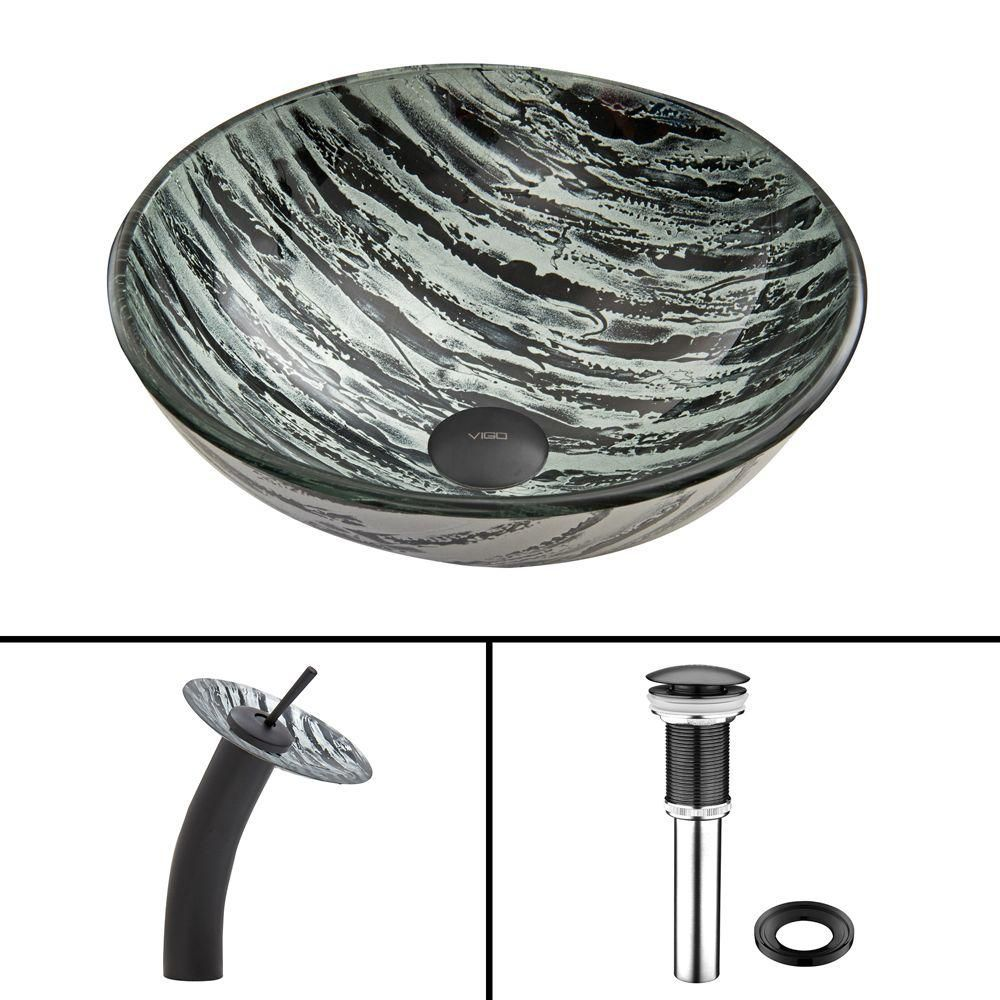 Glass Vessel Sink in Rising Moon with Waterfall Faucet in Matte Black