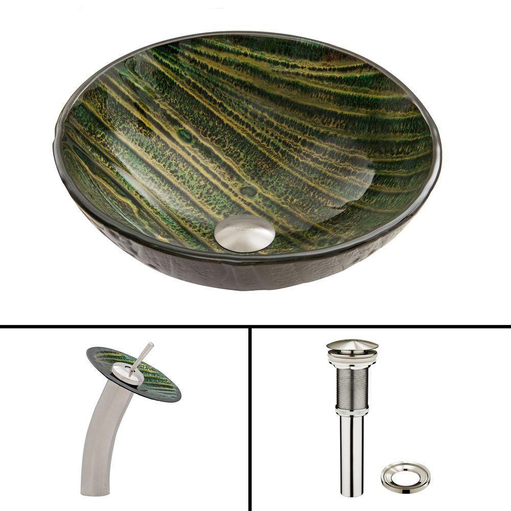 Glass Vessel Sink in Green Asteroid with Waterfall Faucet in Brushed Nickel