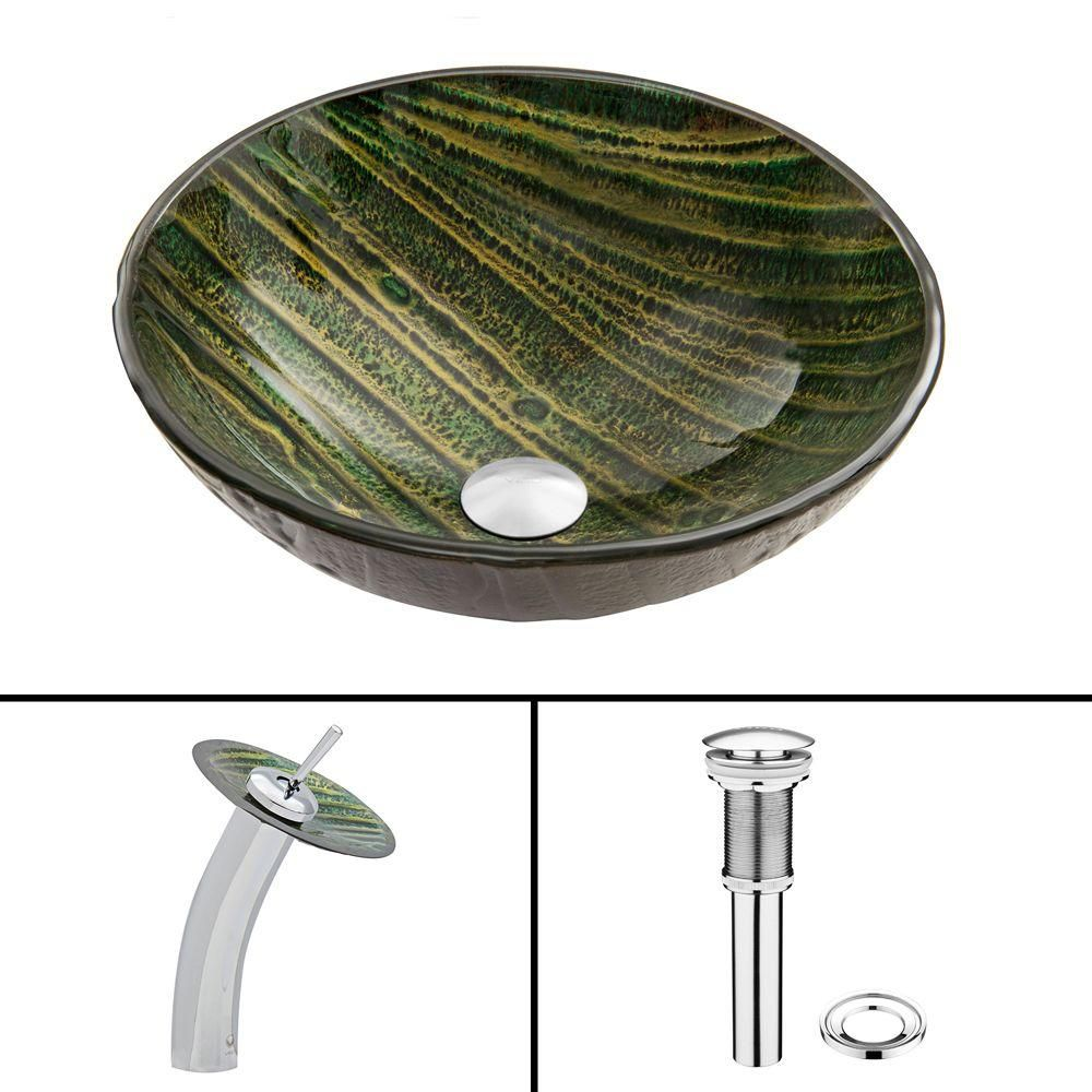Glass Vessel Sink in Green Asteroid with Waterfall Faucet in Chrome