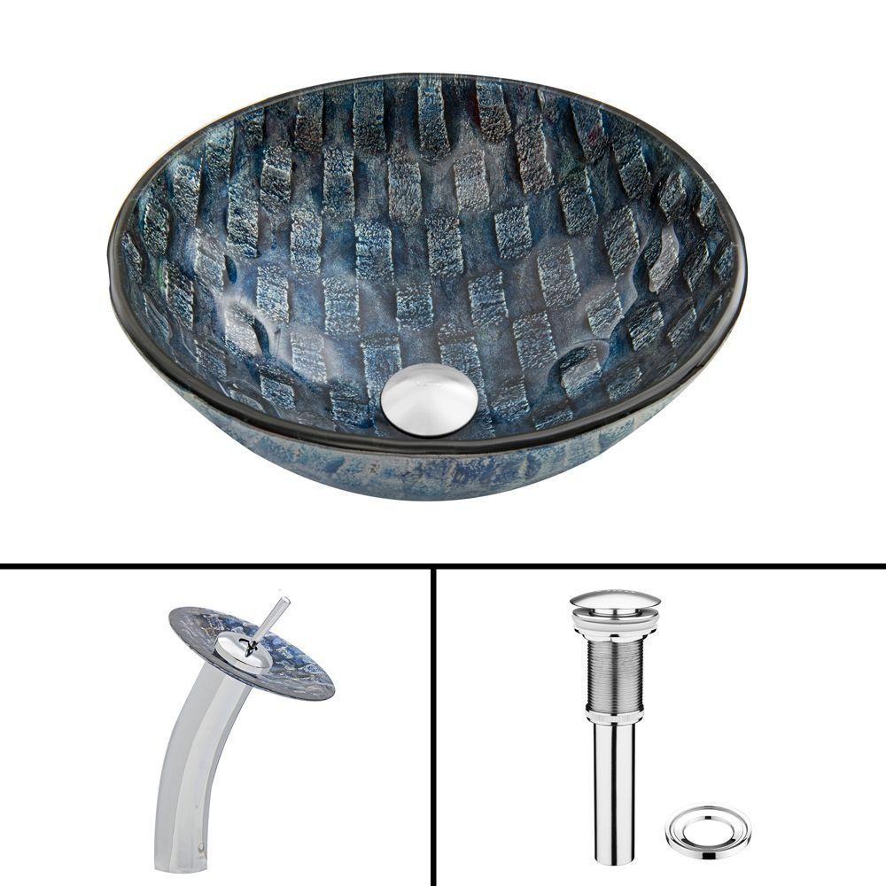 Ensemble lavabo en verre et robinet à cascade Rio en chrome