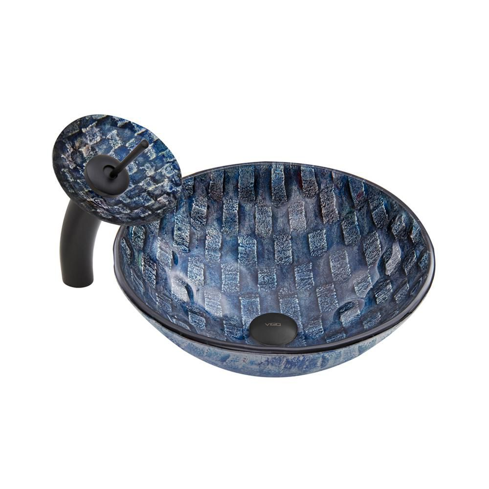 Glass Vessel Sink in Rio with Waterfall Faucet in Matte Black