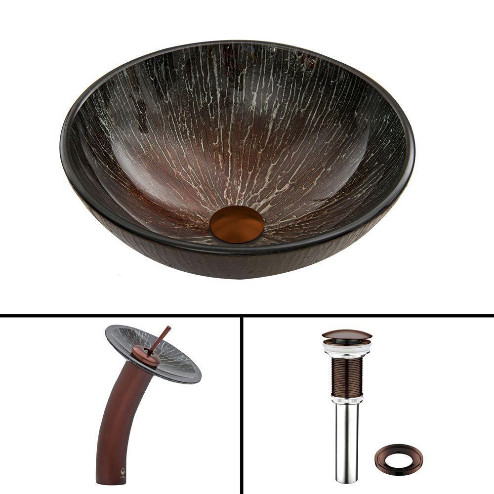 Ensemble lavabo en verre et robinet à cascade Enchanted Earth en Bronze Huilé