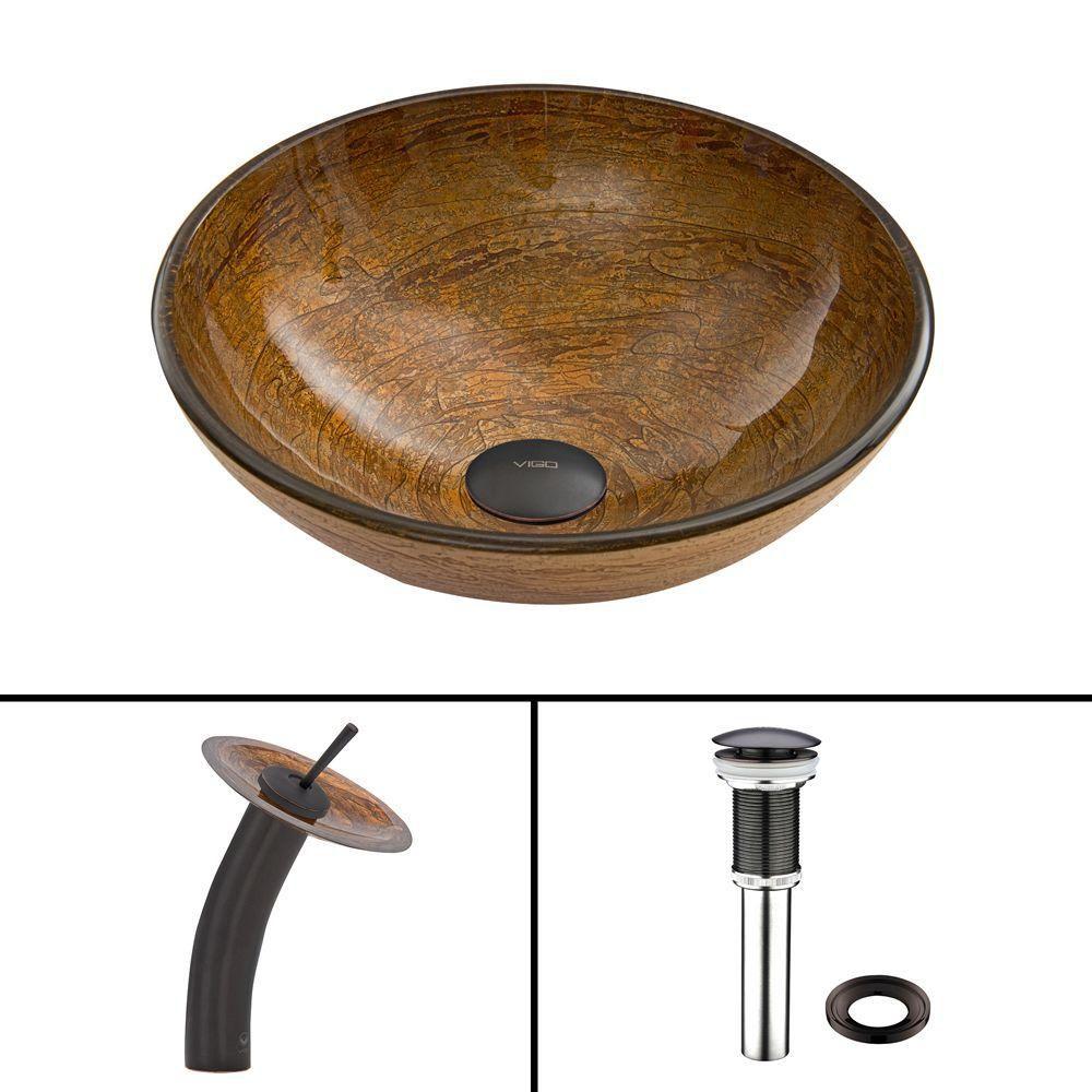 Ensemble lavabo en verre et robinet à cascade Cappuccino Swirl en Bronze Antique Huilé
