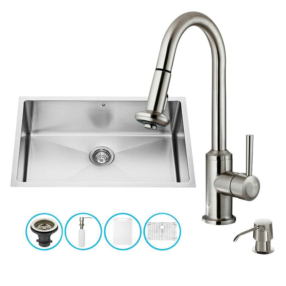 Stainless Steel All in One Undermount Kitchen Sink and Faucet Set 30 Inch