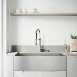 Vigo All-in-One 36 inch Stainless Steel Single Bowl Undermount Kitchen Sink with Pull Down Faucet in Stainless Steel