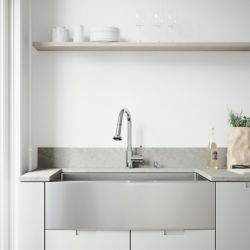 VIGO All-in-One 36 inch Bedford Stainless Steel Single Bowl Farmhouse Kitchen Sink with Pull Down Faucet in Chrome