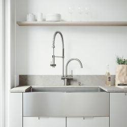 VIGO All-in-One Farmhouse Apron Front Stainless Steel 36 inch Single Bowl Kitchen Sink with Stainless Steel Pull Down Faucet