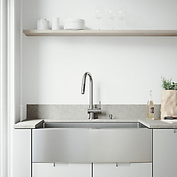 VIGO All-in-One 36 inch Bedford Stainless Steel Single Bowl Farmhouse Kitchen Sink with Pull Down Faucet in Stainless Steel