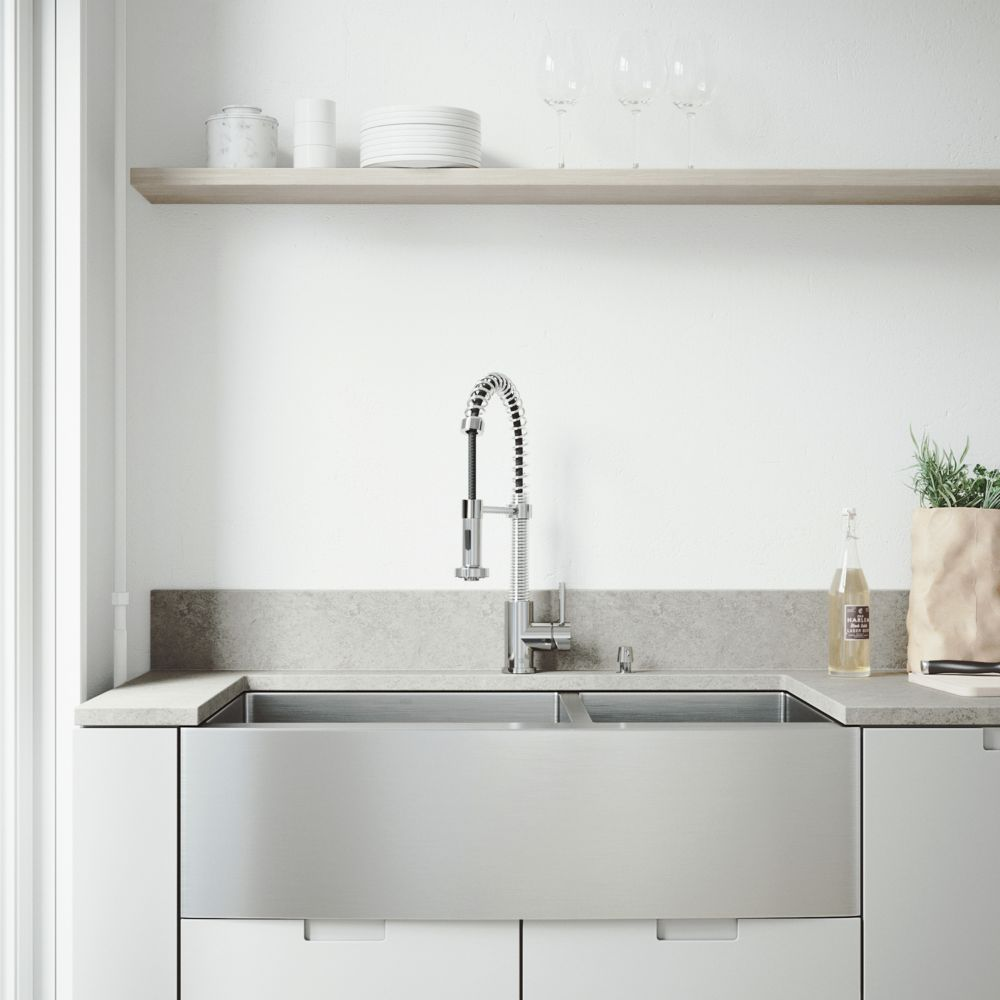 Vigo Stainless Steel All in One Farmhouse Double Bowl Kitchen Sink and Chrome Faucet Set 36 Inch