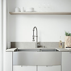 VIGO All-in-One 36 inch Bingham Stainless Steel 60/40 Double Bowl Farmhouse Kitchen Sink, Pull Down Faucet in Stainless Steel