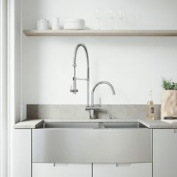 VIGO All-in-One Farmhouse Apron Front Stainless Steel 36 inch 0-Hole Double Bowl Kitchen Sink and Faucet Set in Chrome