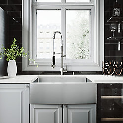 VIGO All-in-One Farmhouse Stainless Steel 30 inch 0-Hole Single Bowl Kitchen Sink Set with Pull Down Faucet in Stainless Steel