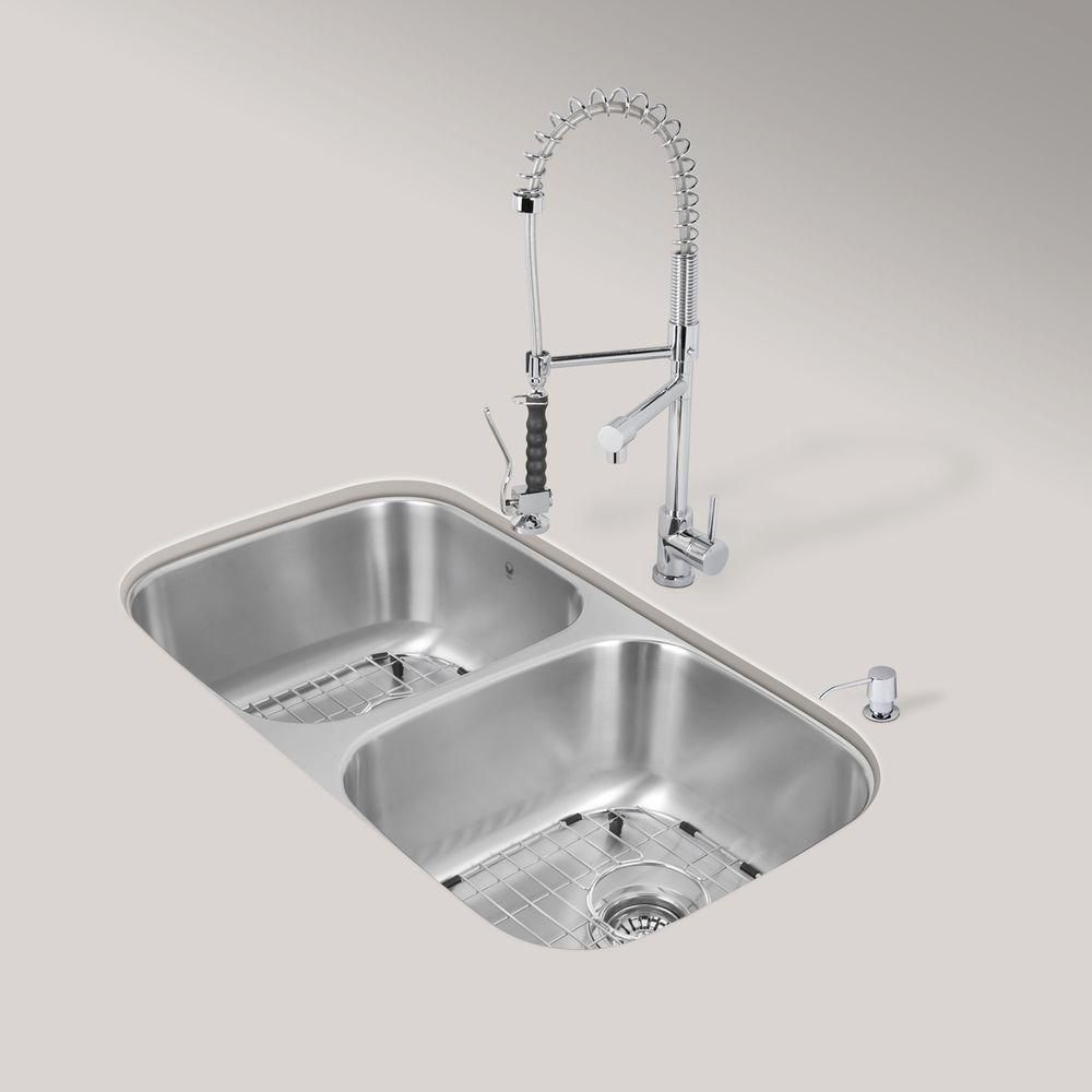 Stainless Steel All in One Undermount Kitchen Sink and Chrome Faucet Set 32 Inch