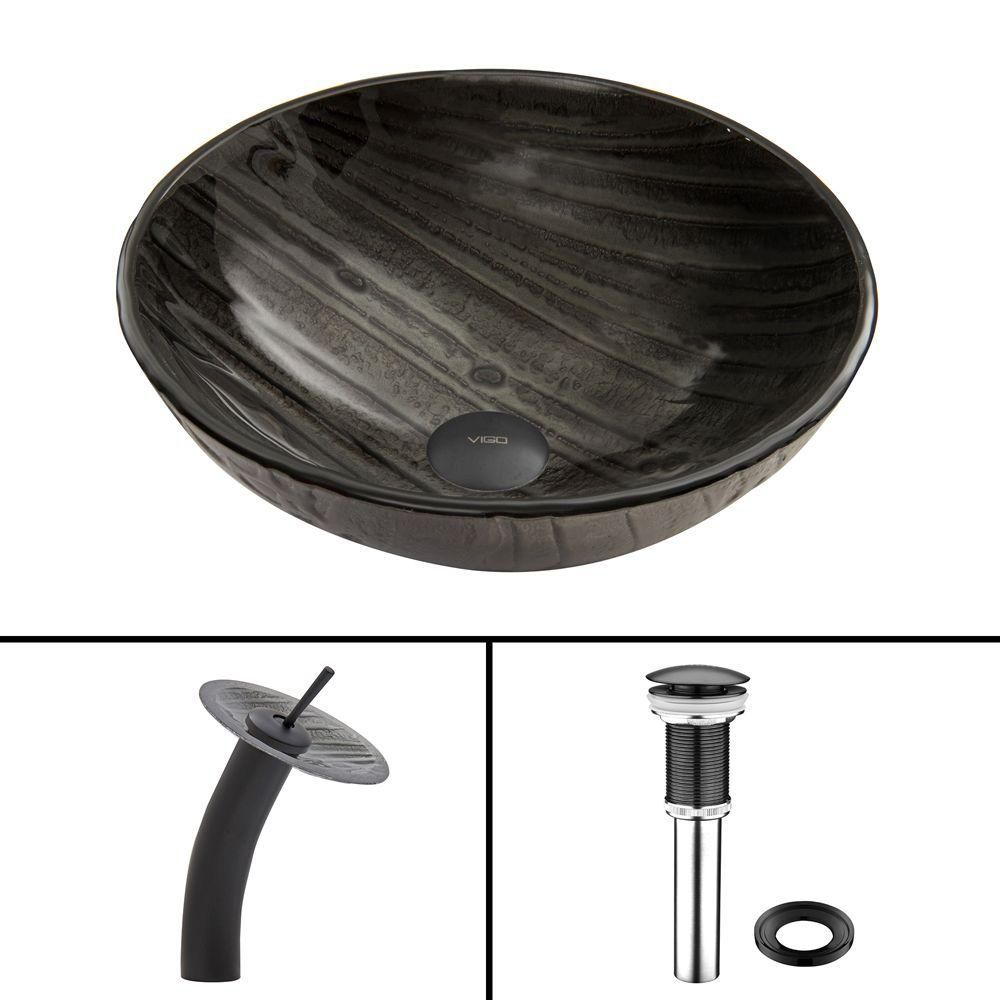 Glass Vessel Sink in Interspace with Waterfall Faucet in Matte Black