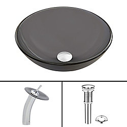 VIGO Glass Vessel Bathroom Sink in Sheer Black Frost with Waterfall Faucet Set in Chrome