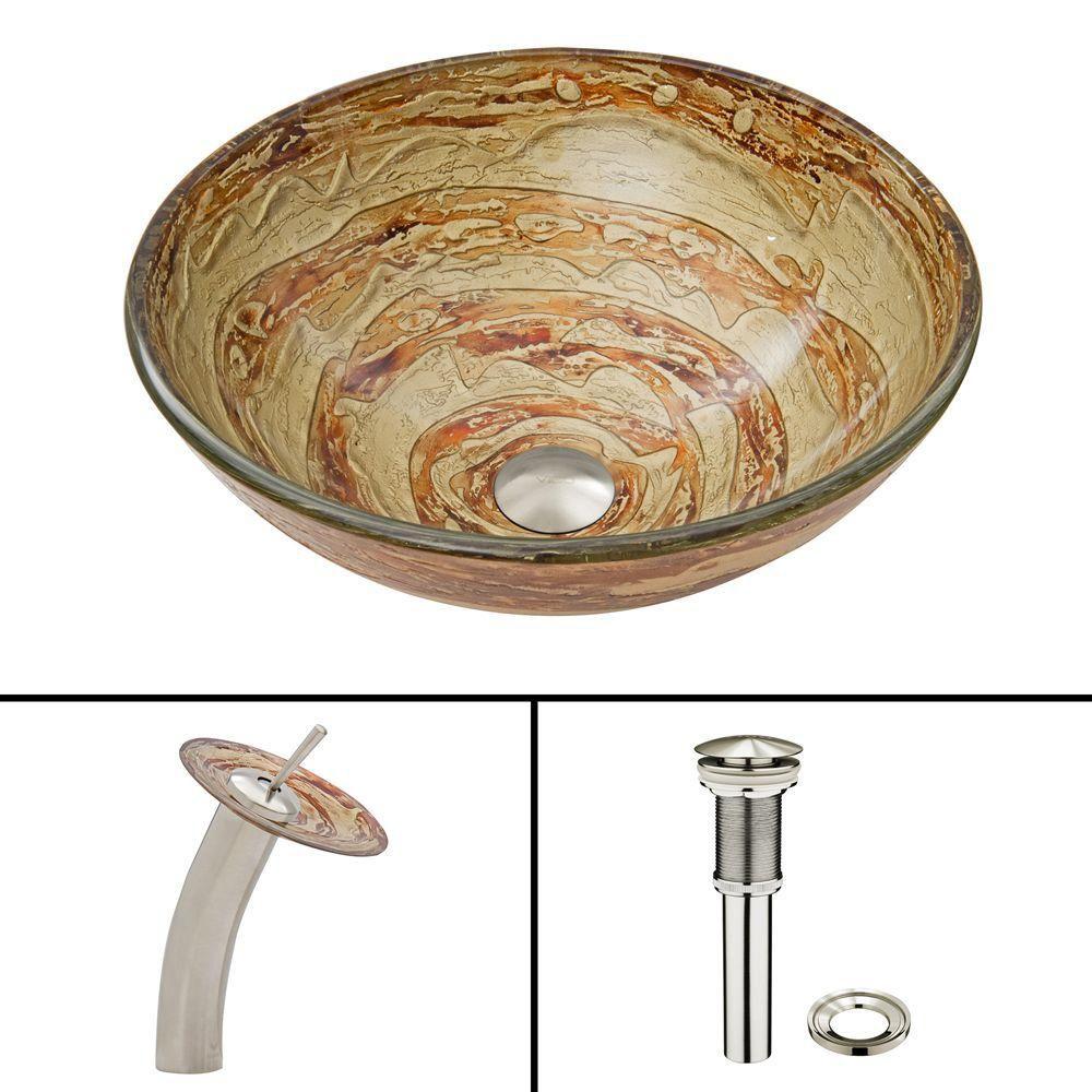 Glass Vessel Sink in Mocha Swirl with Waterfall Faucet in Brushed Nickel