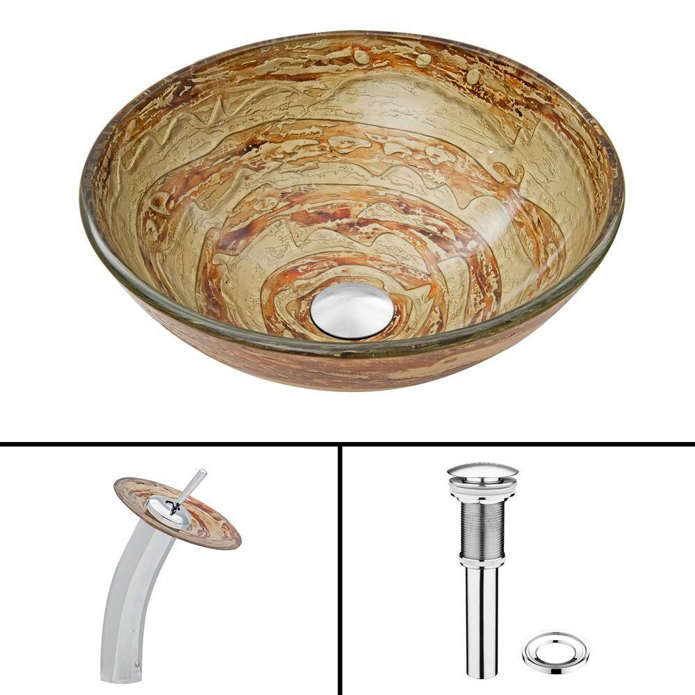 Glass Vessel Sink in Mocha Swirl with Waterfall Faucet in Chrome