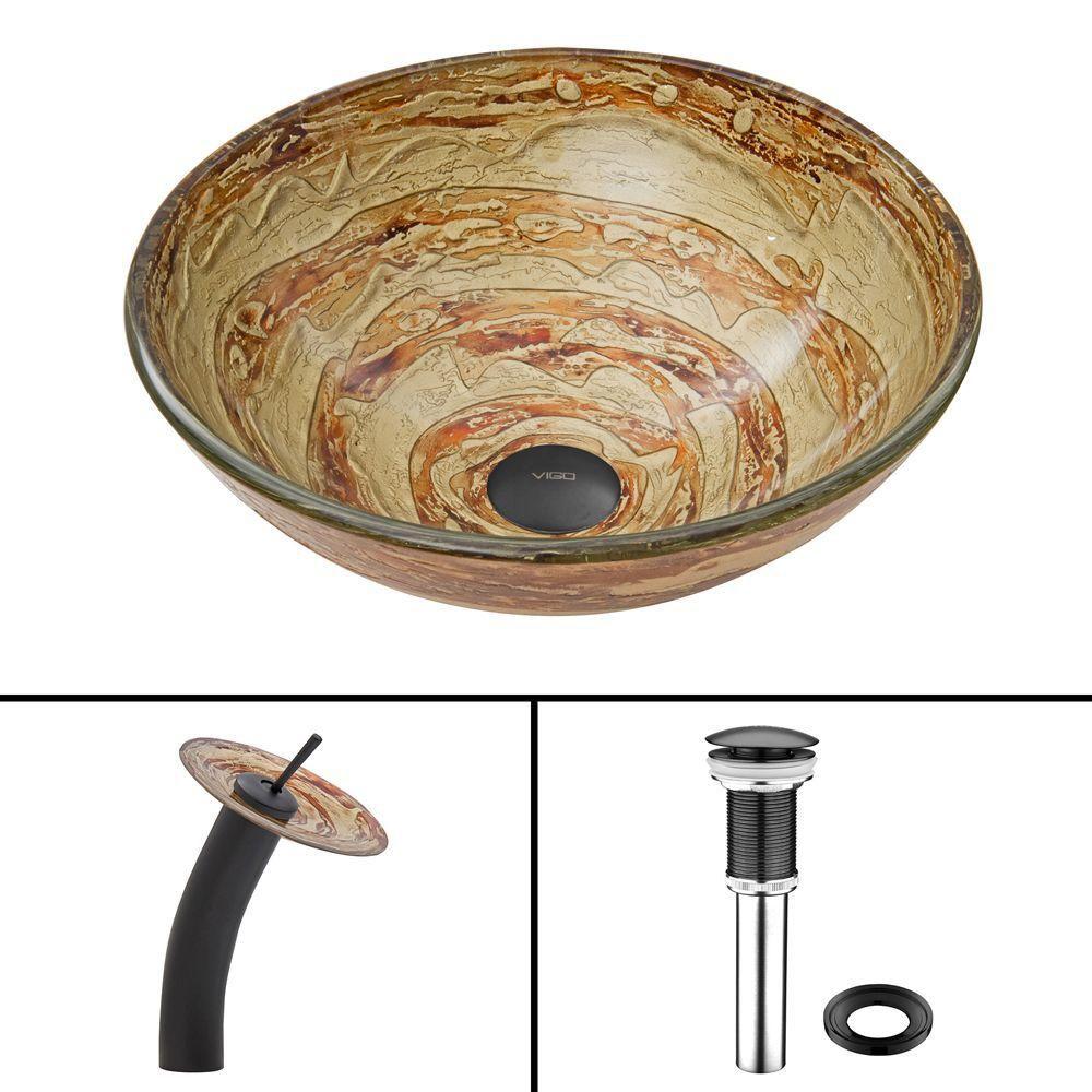 Glass Vessel Sink in Mocha Swirl with Waterfall Faucet in Matte Black