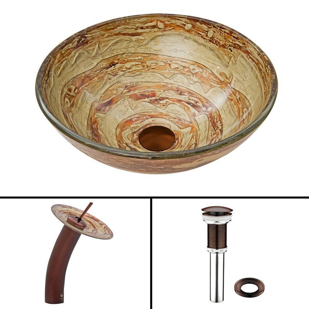 Glass Vessel Sink in Mocha Swirl with Waterfall Faucet in Oil-Rubbed Bronze