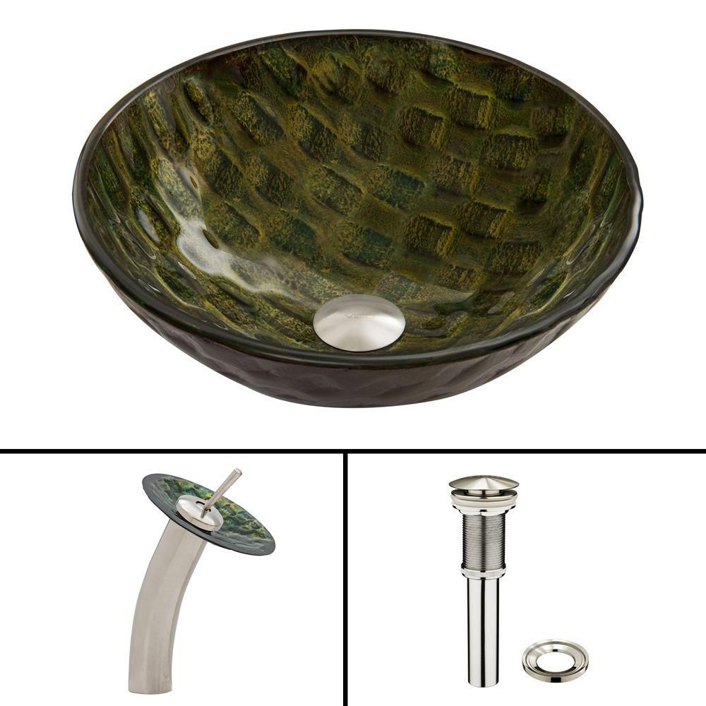 Amazonia Glass Vessel Sink with Waterfall Faucet in Brushed Nickel