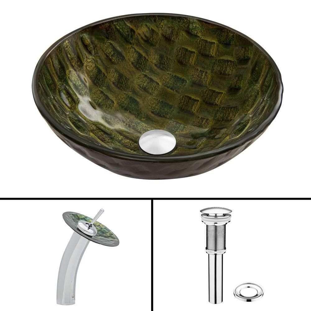 Glass Vessel Sink in Amazonia with Waterfall Faucet in Chrome