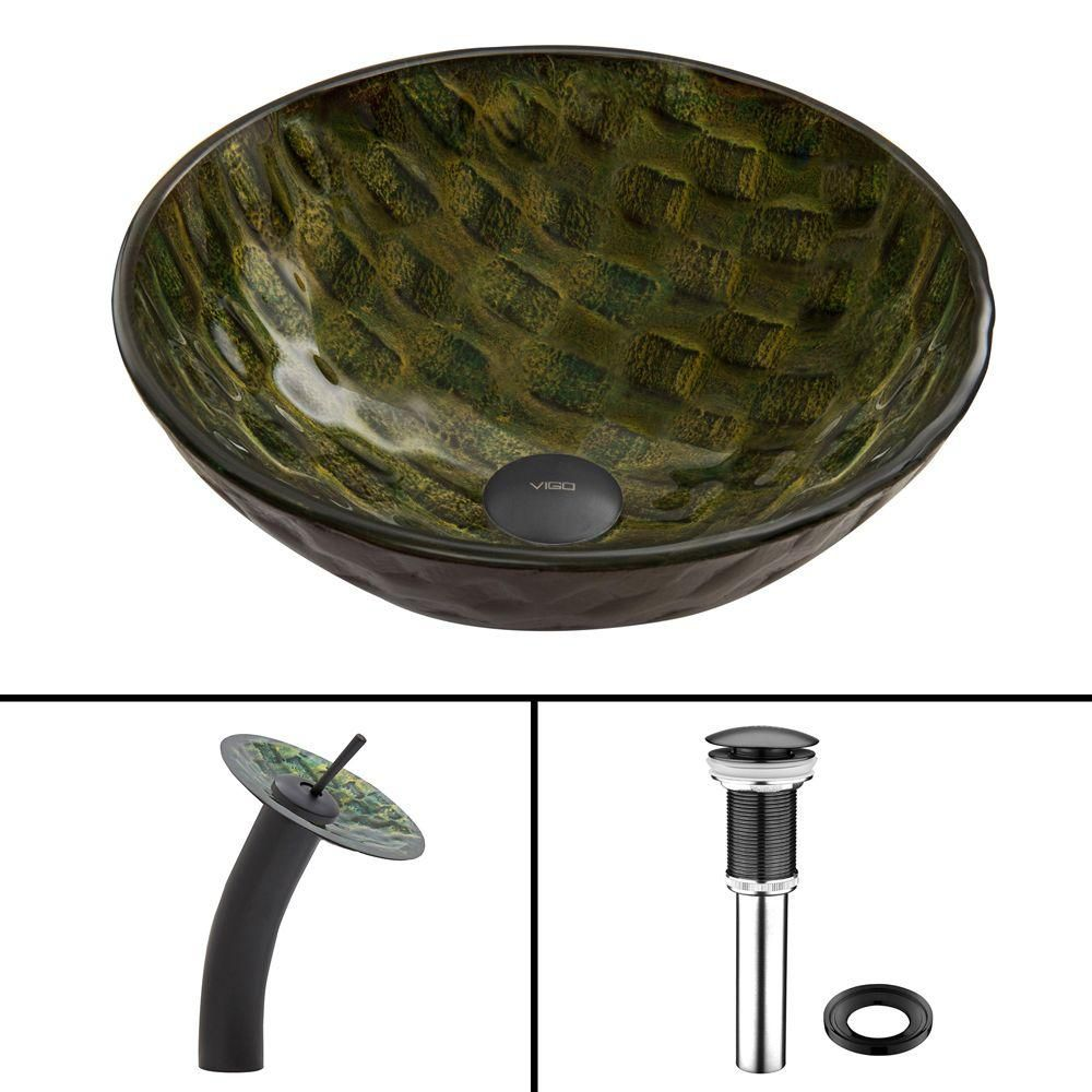 Amazonia Glass Vessel Sink in Matte Black with Waterfall Faucet