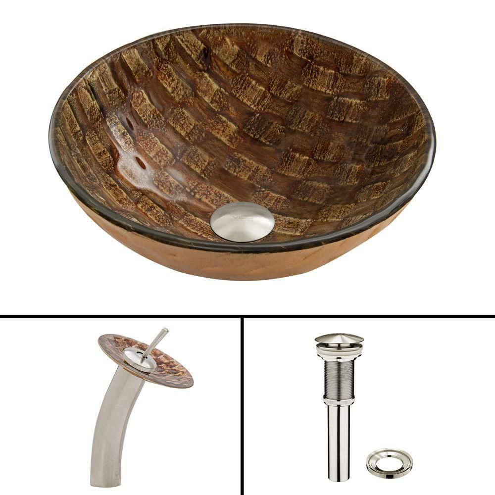 Glass Vessel Sink in Playa with Waterfall Faucet in Brushed Nickel