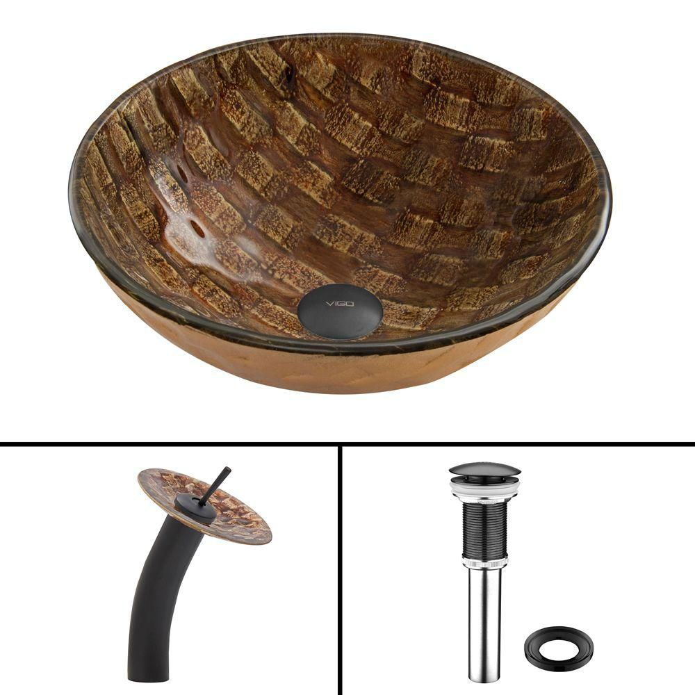 Ensemble lavabo en verre et robinet à cascade Playa noir mat