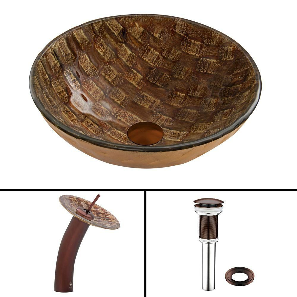 Glass Vessel Sink in Playa with Waterfall Faucet in Oil-Rubbed Bronze