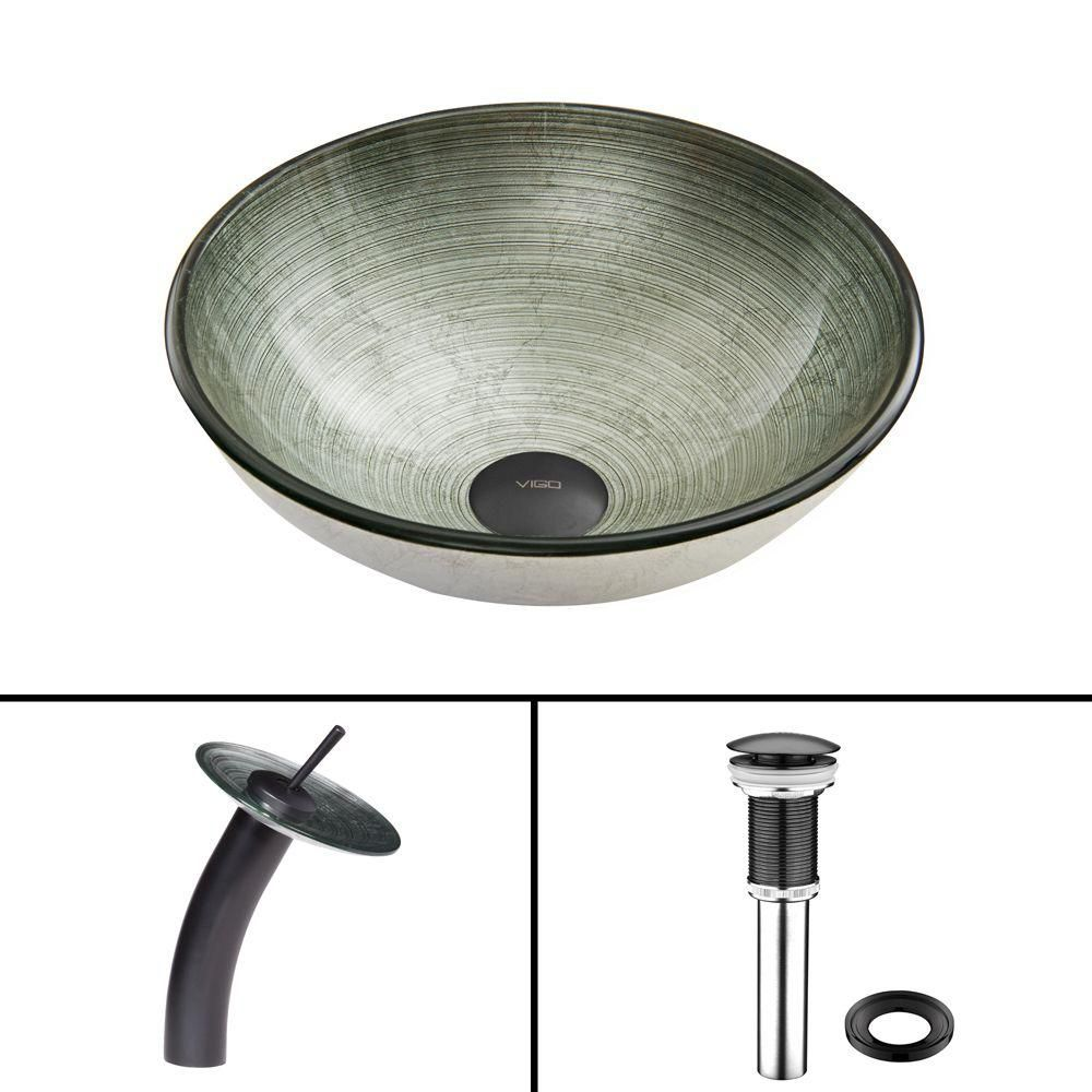 Glass Vessel Sink in Simply Silver with Waterfall Faucet in Matte Black