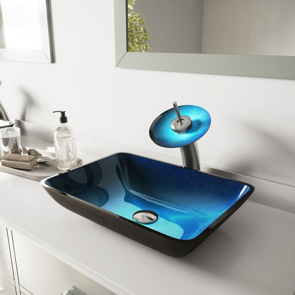 Vigo Glass Vessel Sink in Rectangular Turquoise Water with Waterfall Faucet in Brushed Nickel