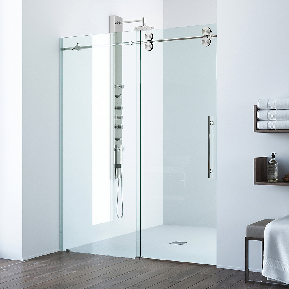 Elan 52 to 56 inch x 74 inch Frameless Sliding Shower Door in Stainless Steel with Clear Glass and Handle